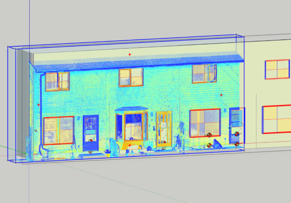 Geometry extraction using Undet point cloud software in SketchUp